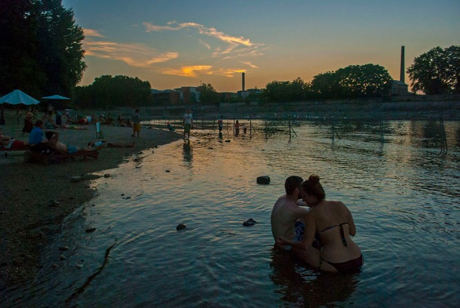 A Sziget Beach sunset. It seems really surprising it took them a whole 21 years to realise this IS a good idea.