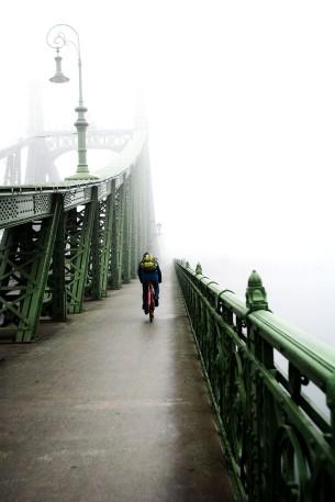 Freedom Bridge in winter fog