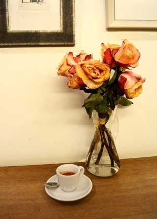 Pink roses in Espresso Embassy