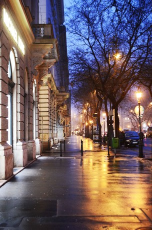 Rainy evening on Andrássy street