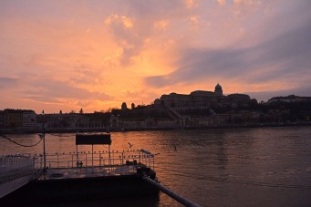 Winter sunset over the Danube