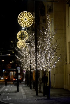Christmas lights on Balassi street