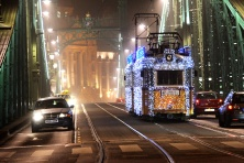 Christmas tram on Freedom Bridge