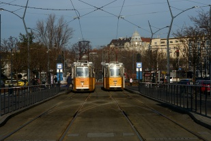 Trams waiting to depart on Deák square
