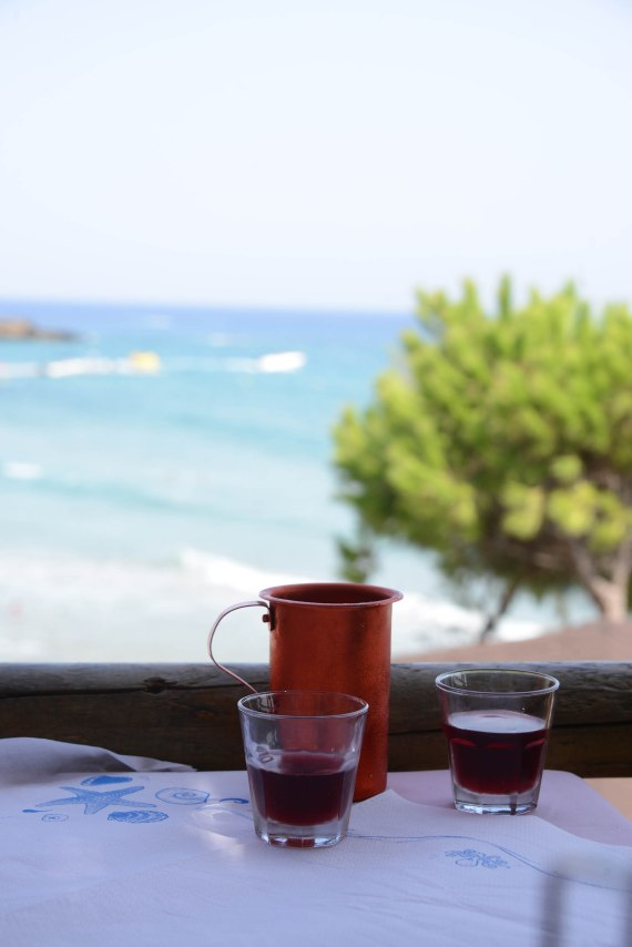 Local red wine at Koukis restaurant