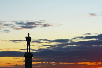 The Victor against the sunset
