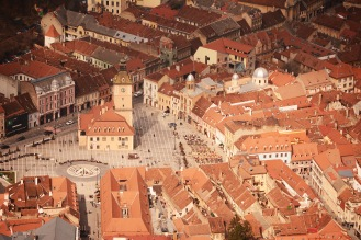 Brașov- Main Square seen from the Tâmpa