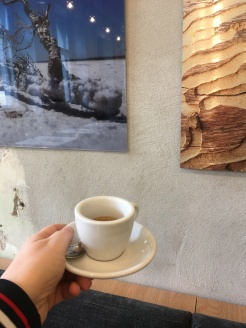 Coffee+wall art in Flow (which would be on that list of better coffee places)