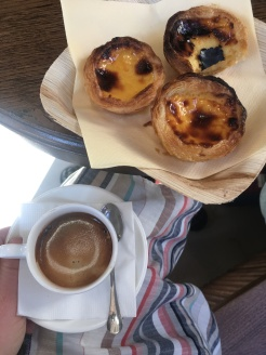 Coffee and pastel de nata in Lisboa Pastry and Bakery