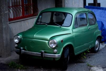 Small car on Sarajevo side street