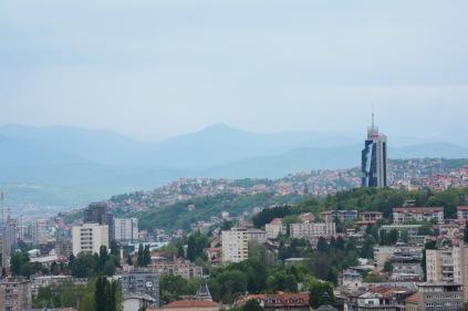 View of Sarajevo with the Avaz twist tower