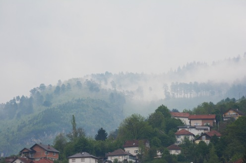 Fog on the mountains overlooking Sarajevo