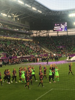 Barca Femeni after the UCL final in Budapest