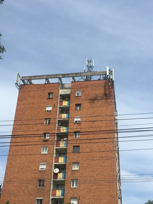 Very Romanian things: blocks of flats, cables and the colours of the flag