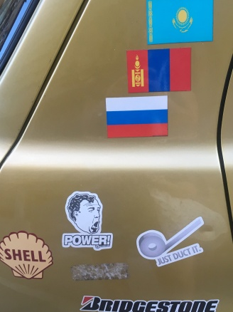 Car parked on Izabella street on its way to the Mongol Rally