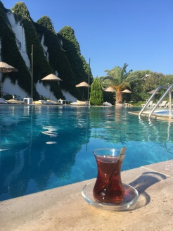 Poolside tea in Burhaniye