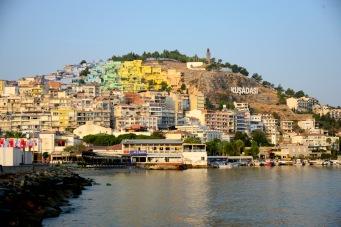 View from Kușadası harbour with the Atatürk monument