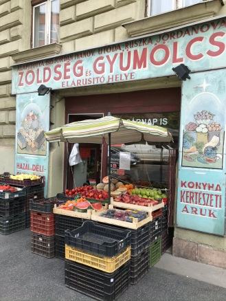 Greengrocer's with old Bulgarian shop sign